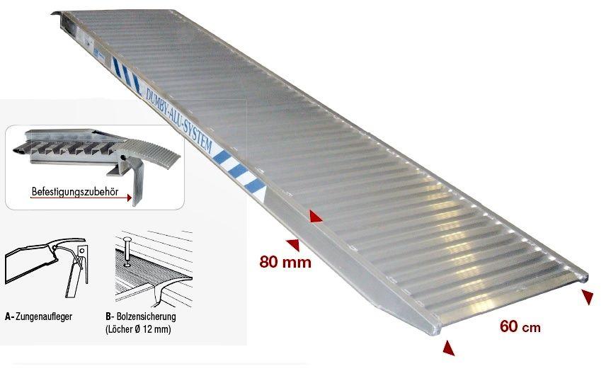 Nájezdová hliníková rampa 2000x600 mm, 700 kg